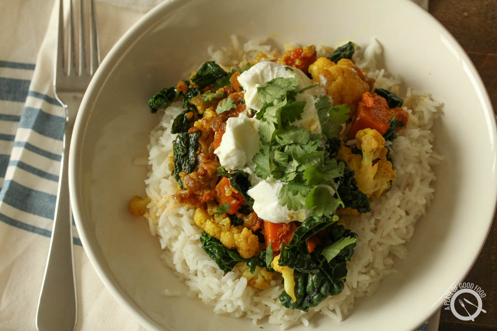 cauliflower and kale curry